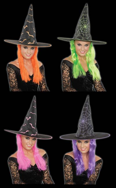 Witch Hat with Neon Wig