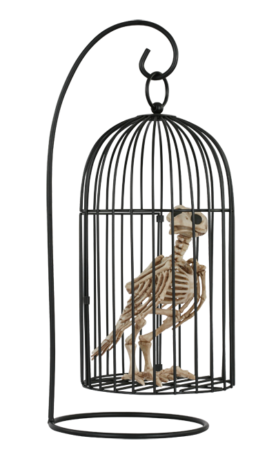 Crazy Bonez Skeleton Crow in Cage