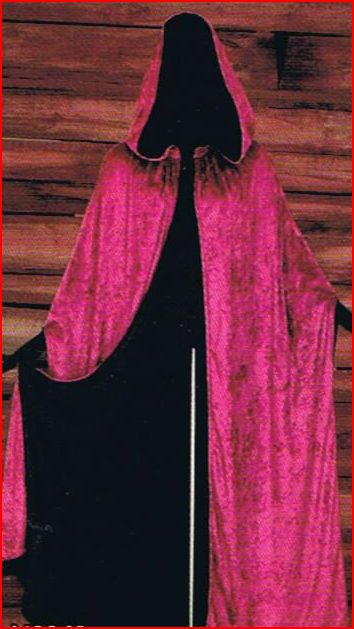 Deluxe Gothic Cloak Bergundy/Black