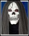White Skull Mask With Hair